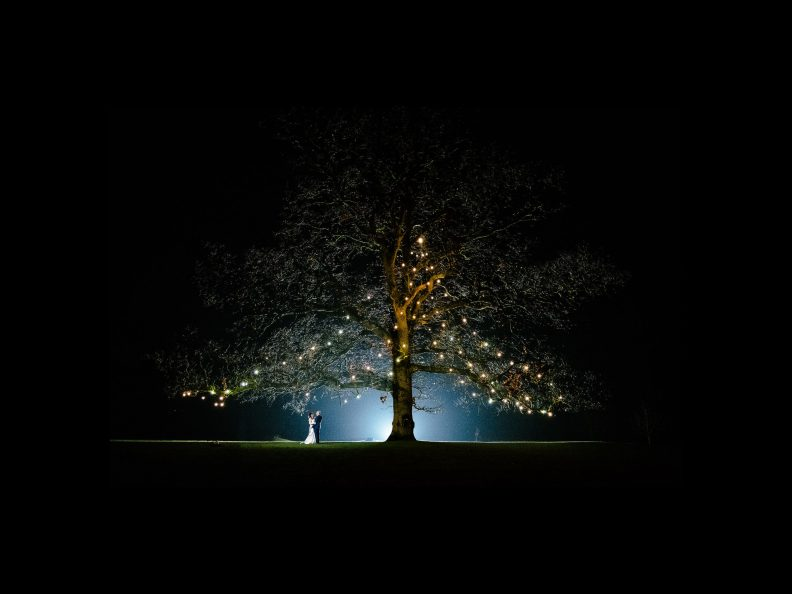 bride and groom at night under a tree