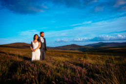 wedding couple at sunset in wicklow mountains