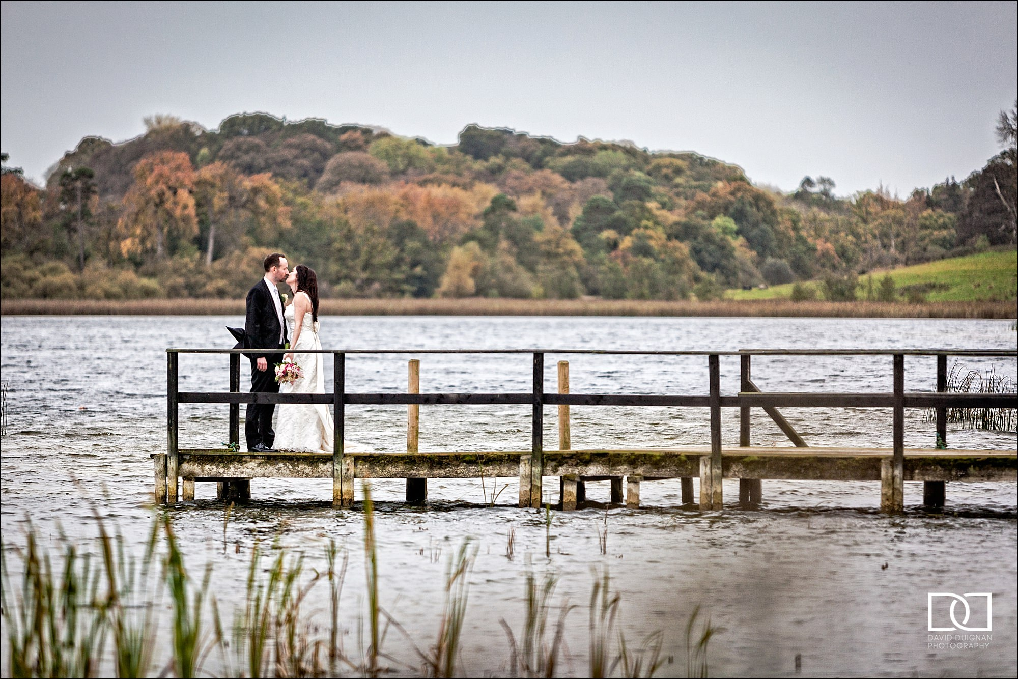 bride and groom at the pier at Castle Leslie