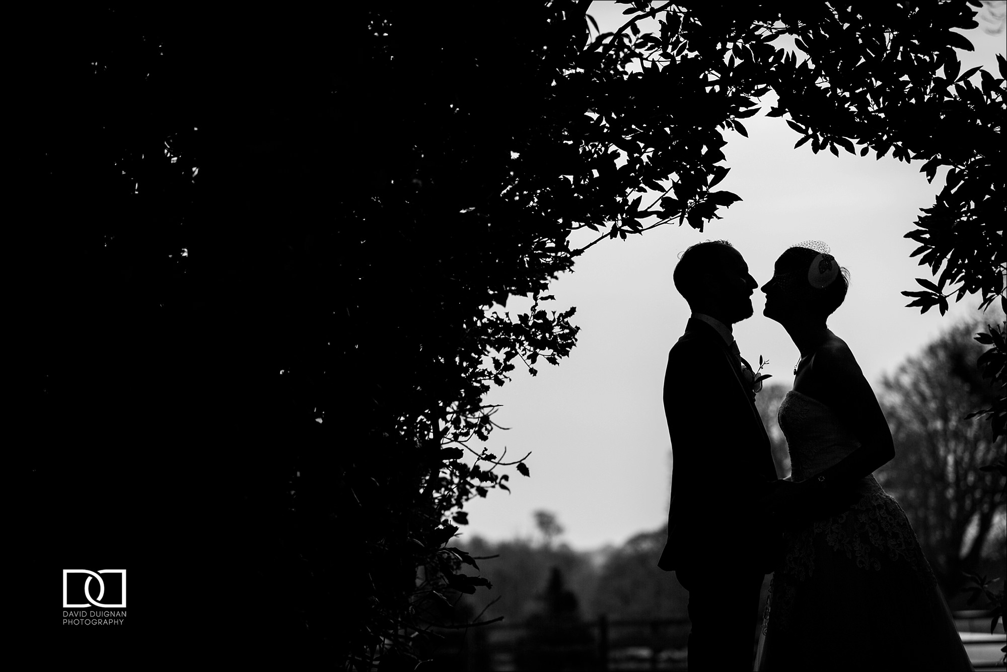 silhouette of bride and groom kissing at Horetown House