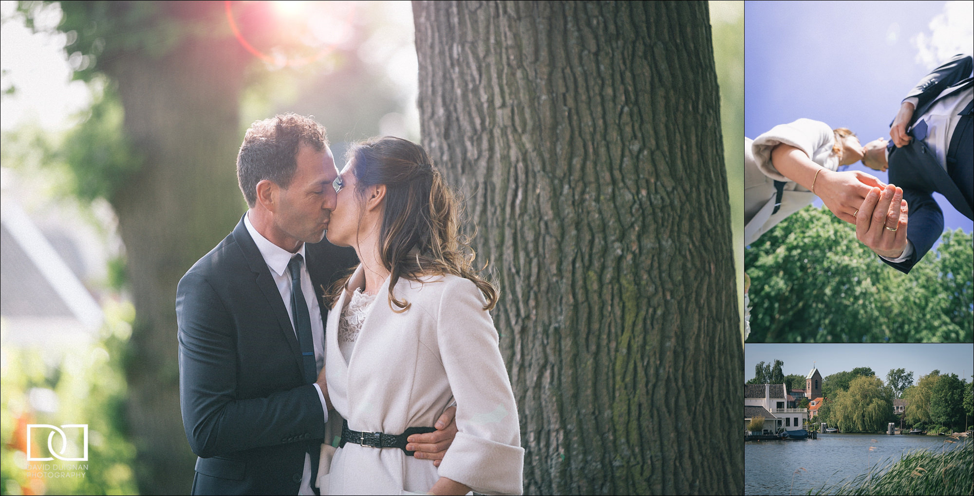 elegant bride and groom kissing at their wedding in Amsterdam