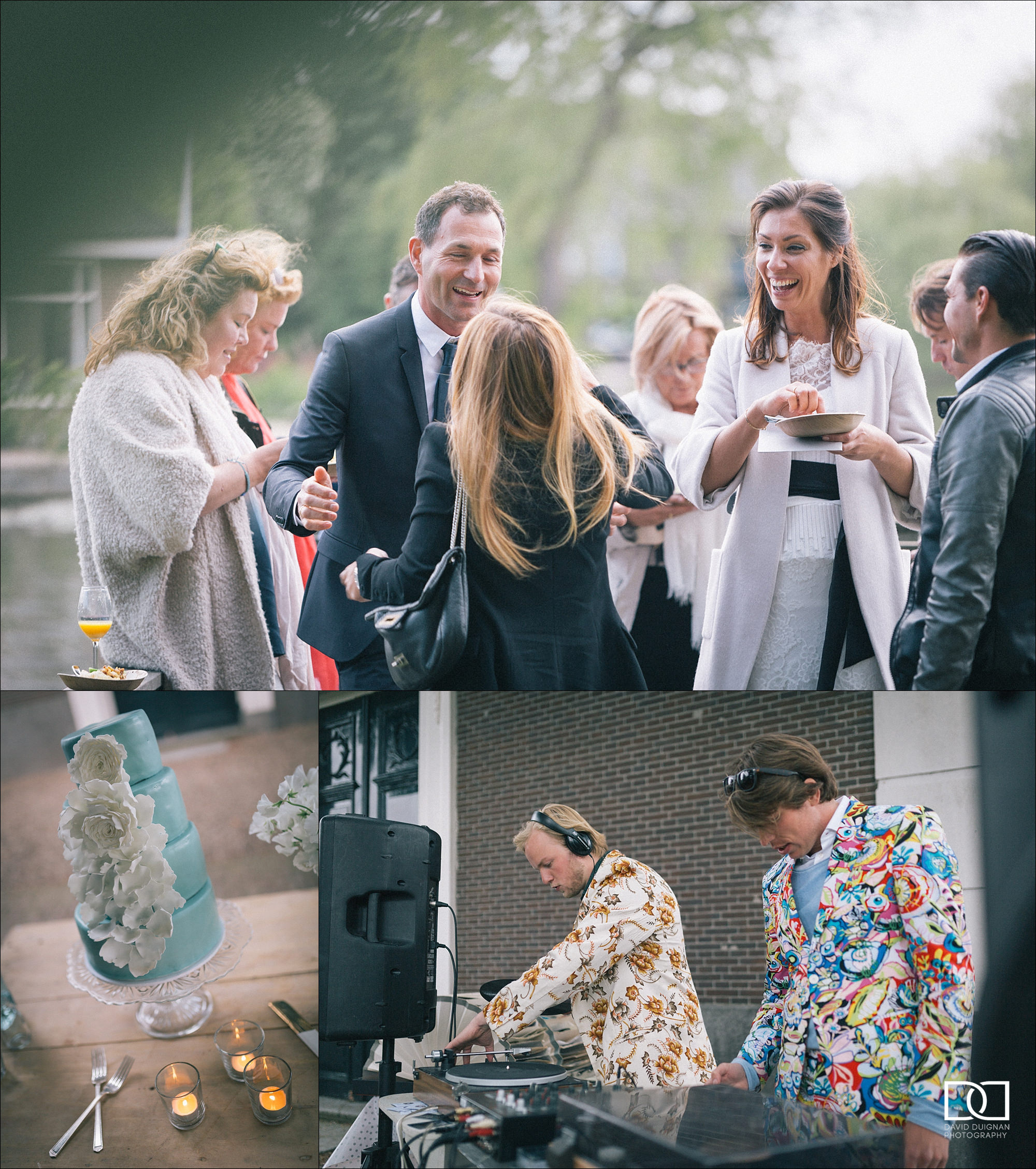 wedding guests laughing outdoors in Amsterdam