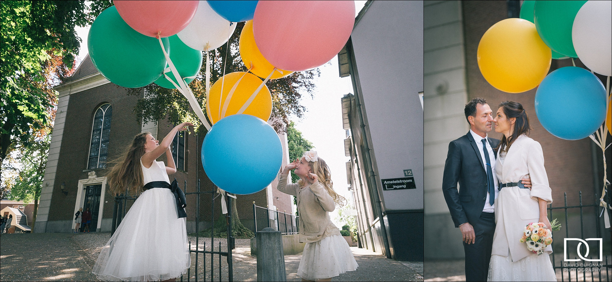 flower girl playing with balloons at wedding