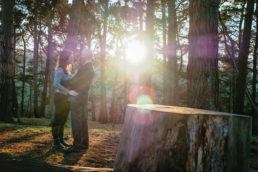 engaged couple in woods at sunset