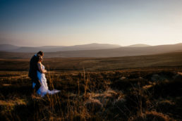 wedding couple at sunset in dublin mountains