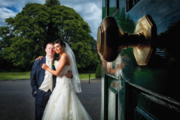 bride and groom at front door to dunboyne castle
