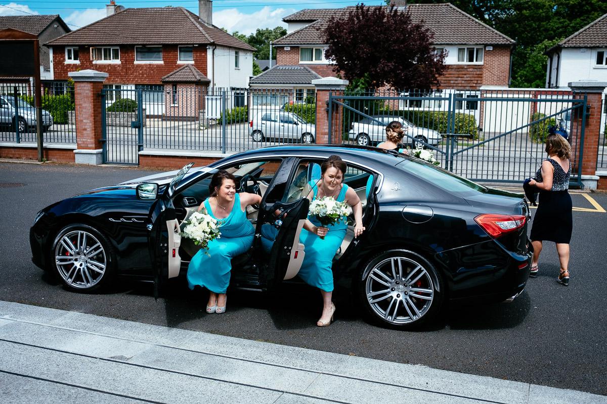 bridesmaids arriving at the church at a k club wedding