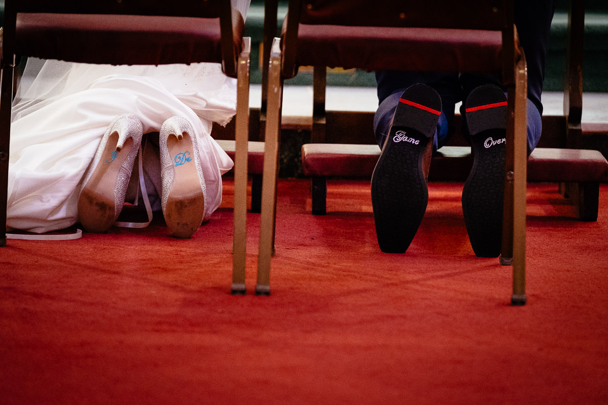 bride and grooms shoes at a k club wedding