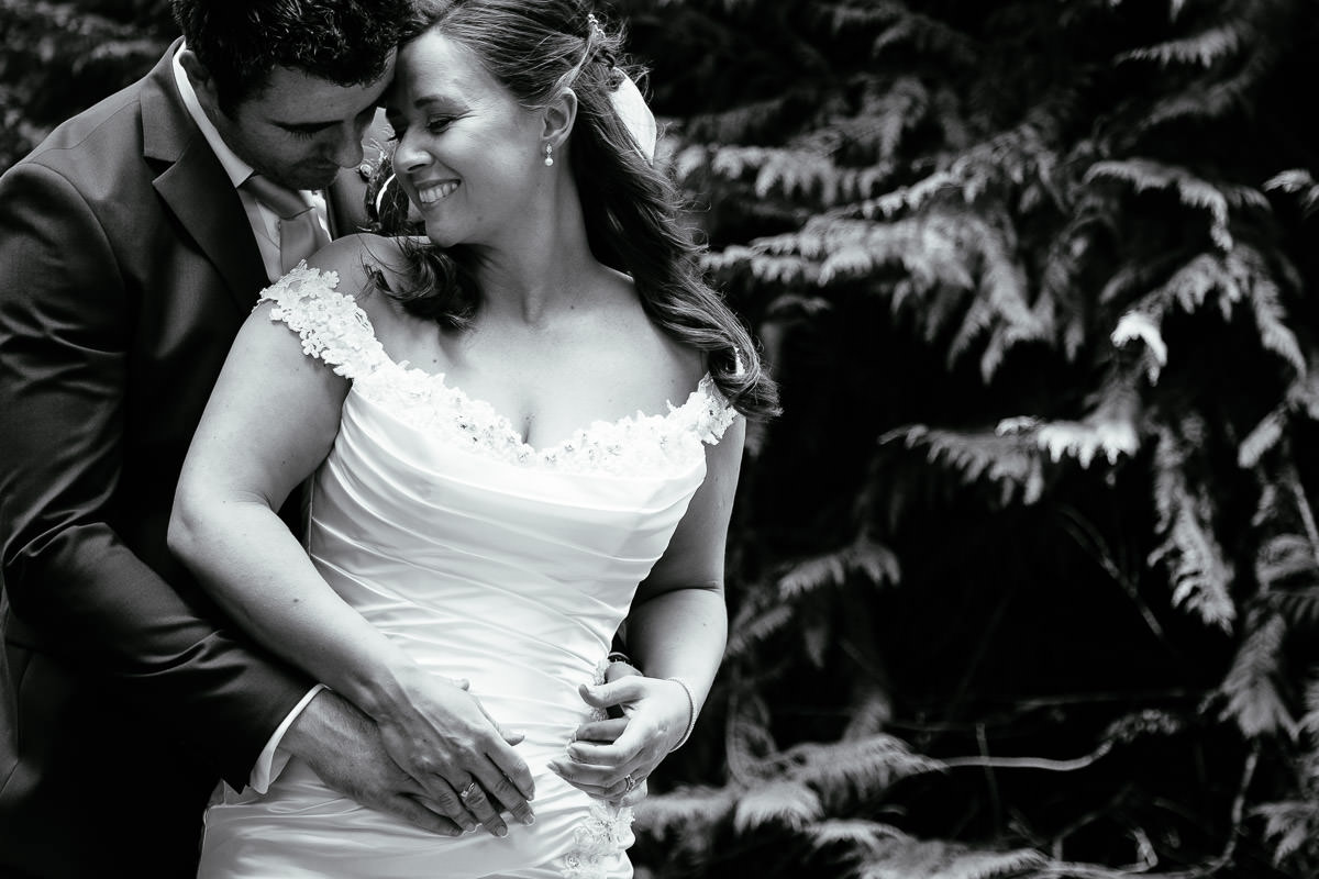 bride and groom embracing at a k club wedding