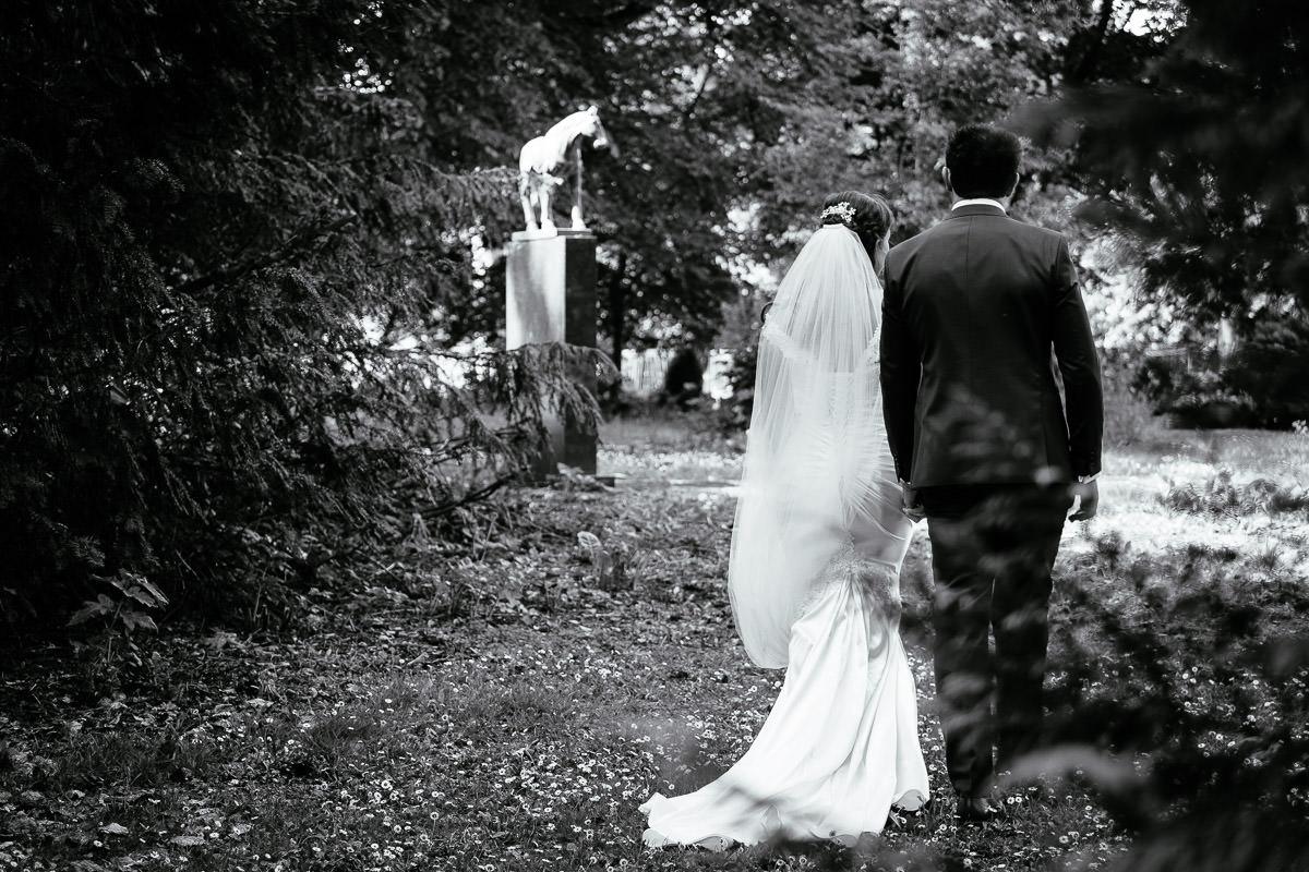 bride and groom walking at a k club wedding