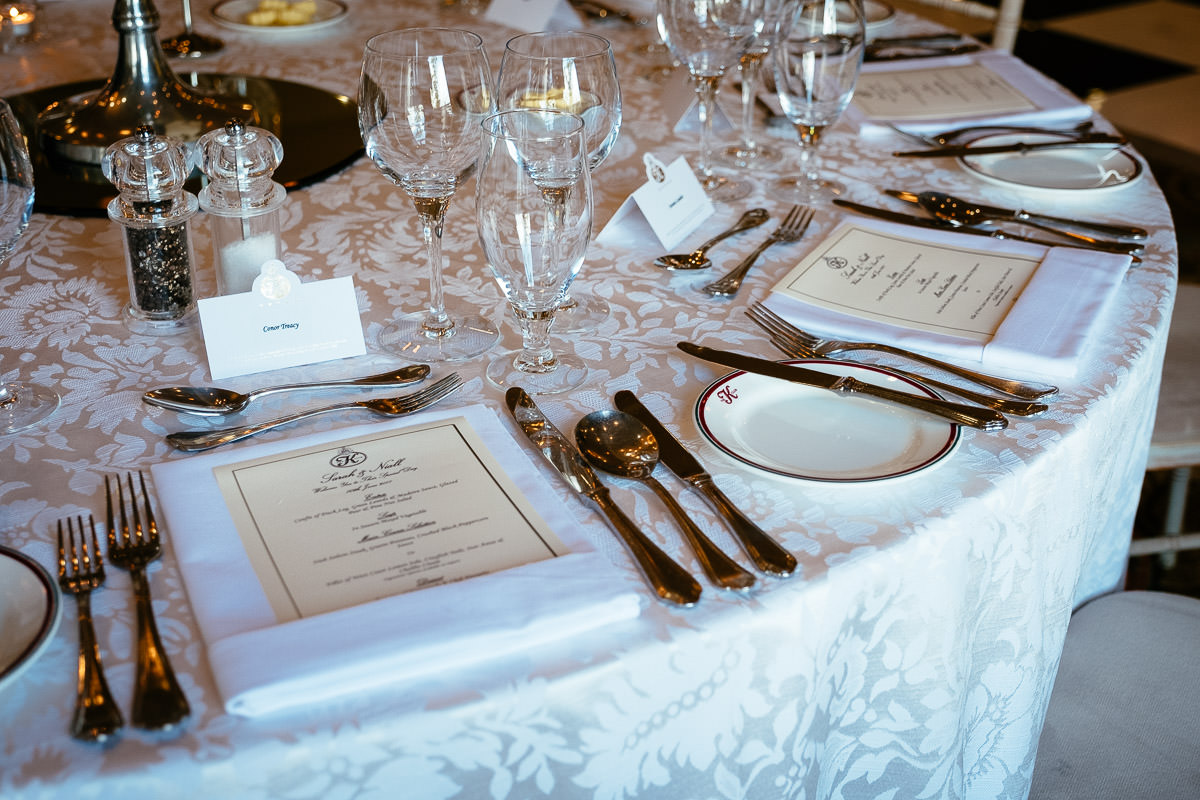 wedding table setup at a k club wedding