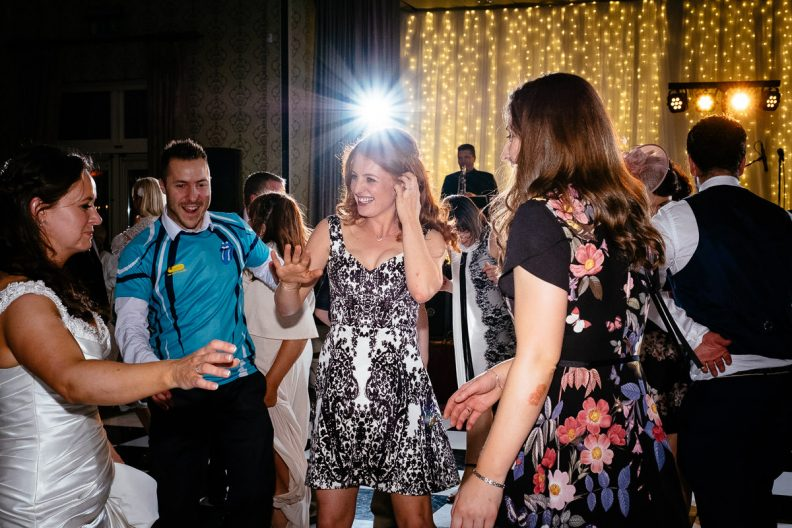 guests dancing at a k club wedding