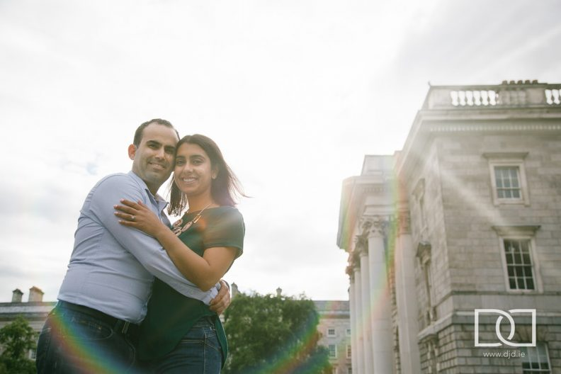 engaged couple in trinity college dublin