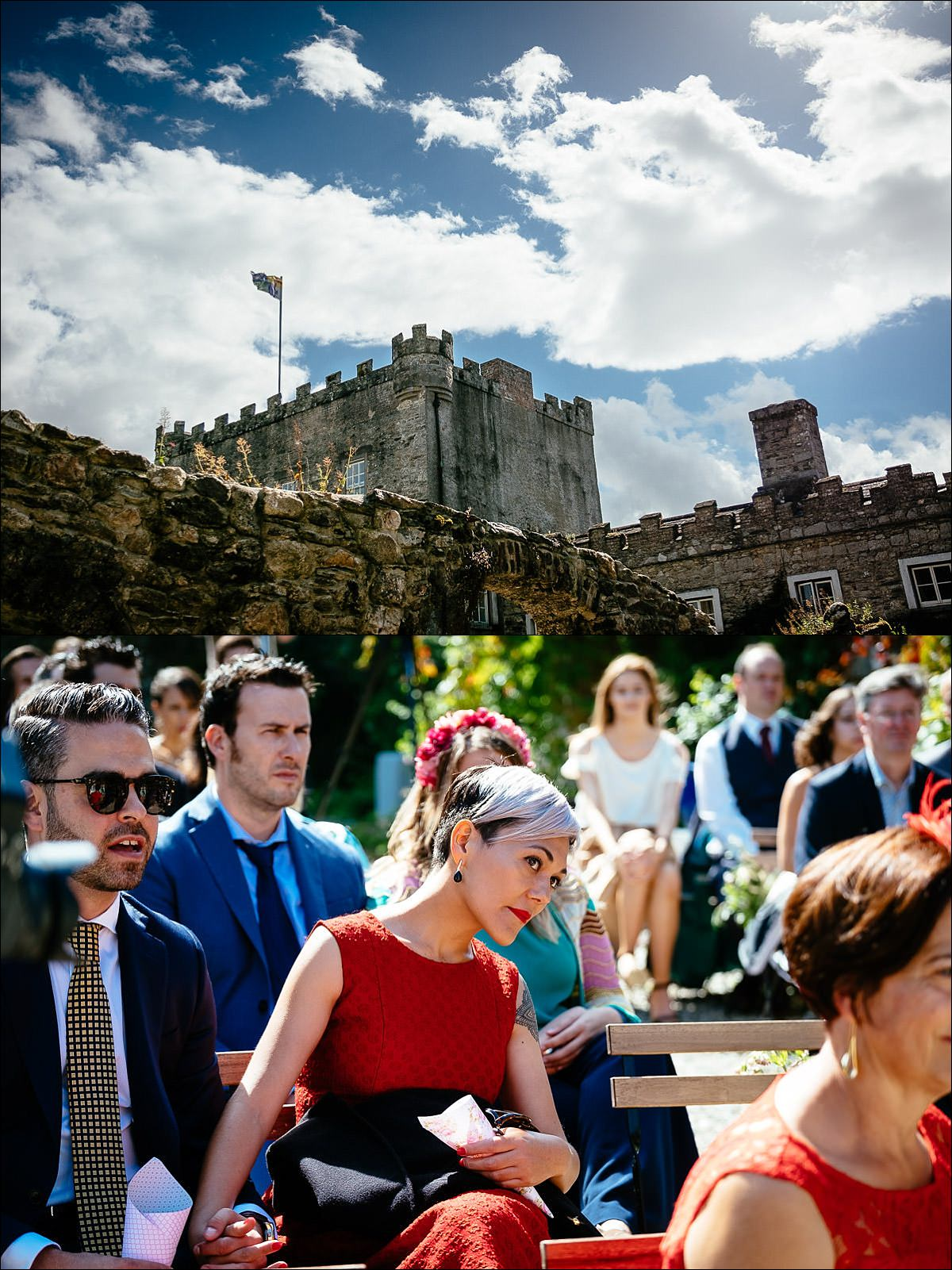 outdoor wedding guests at ceremony at Huntington Castle Wedding Photography