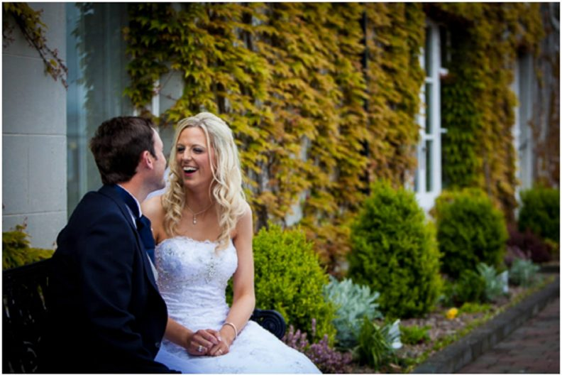 bride and groom at their Lyrath estate Wedding