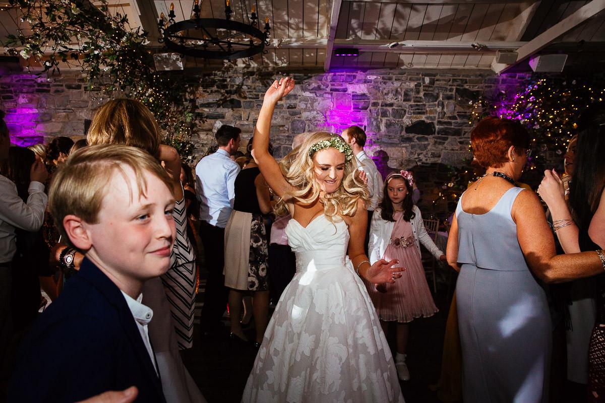 bride dancing at ballymagarvey wedding