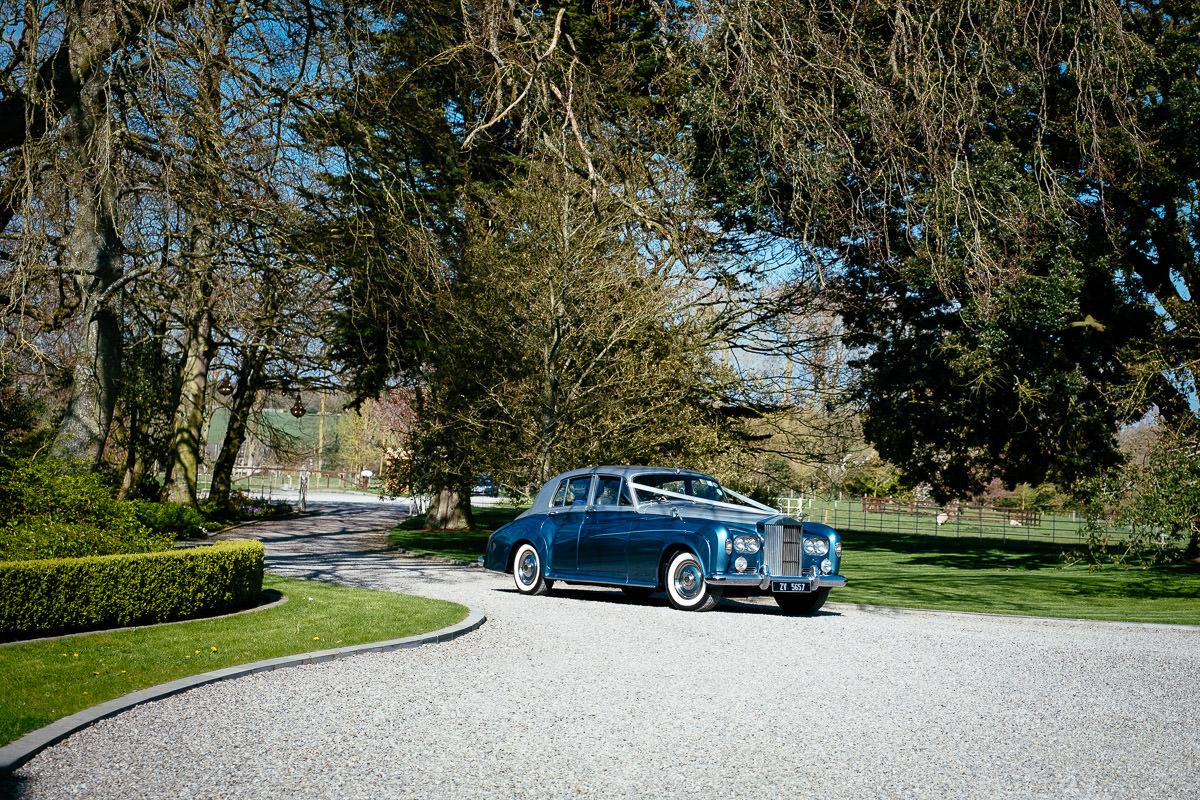 wedding car at ballymagarvey wedding