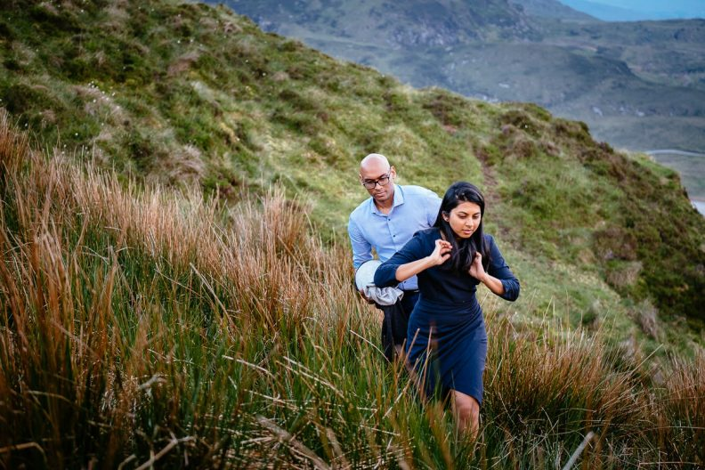 engaged couple in glenveagh national park in donegal