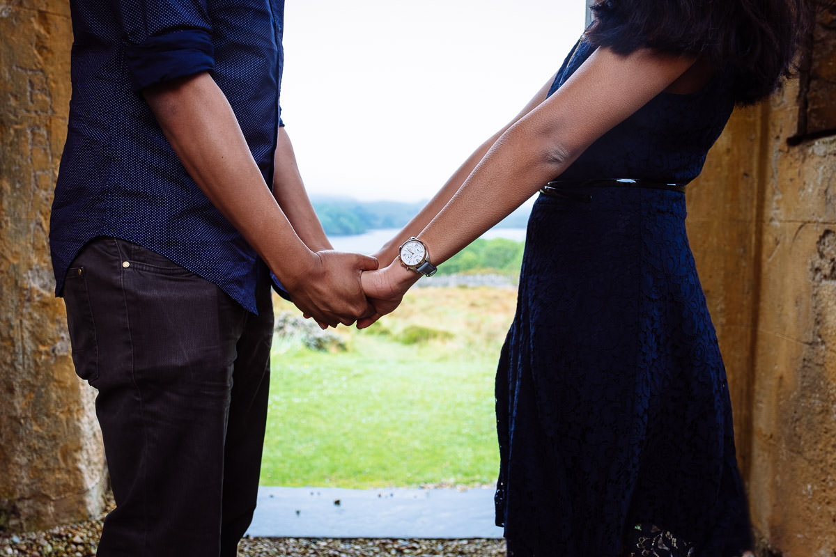 engaged couple on in devils glen in donegal