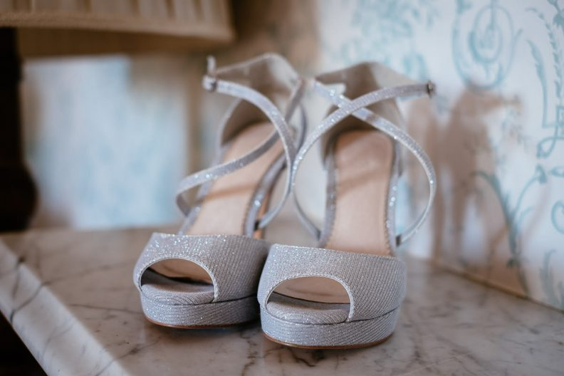 brides shoes at her tinakilly country house wedding