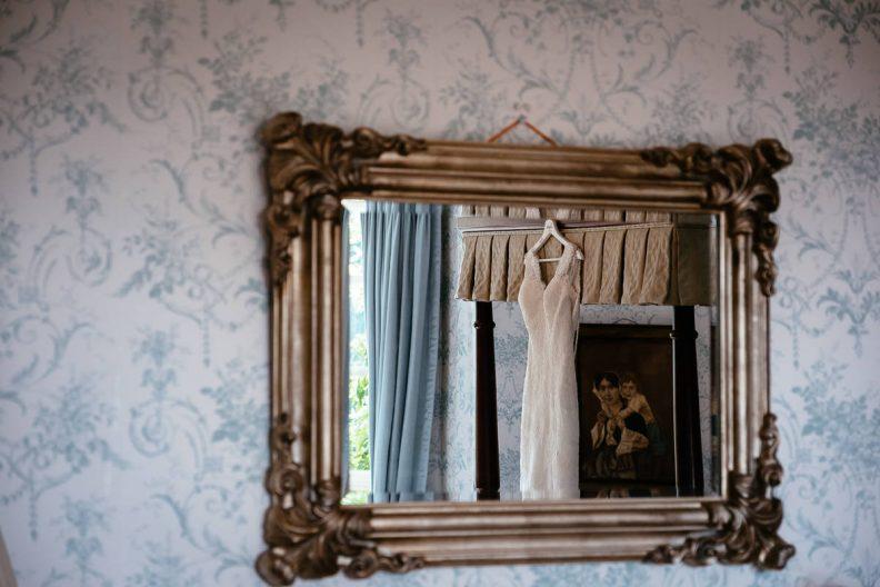 wedding dress hanging at tinakilly country house wedding