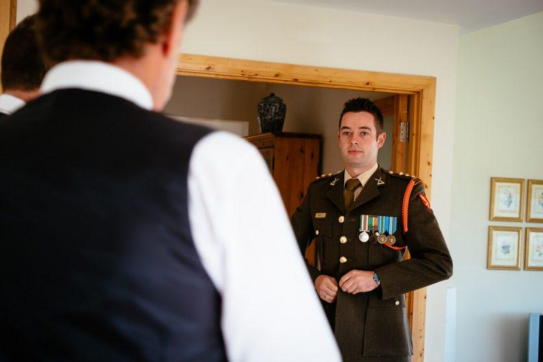 irish soilder getting ready for his wedding
