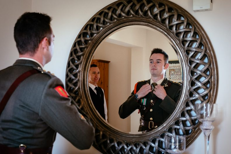 groom getting ready at tinakilly house