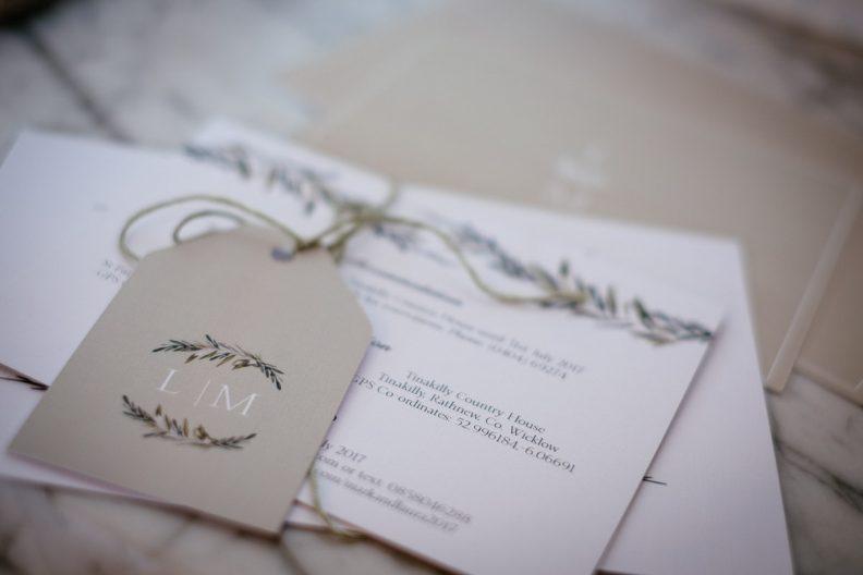 wedding stationery at tinakilly house