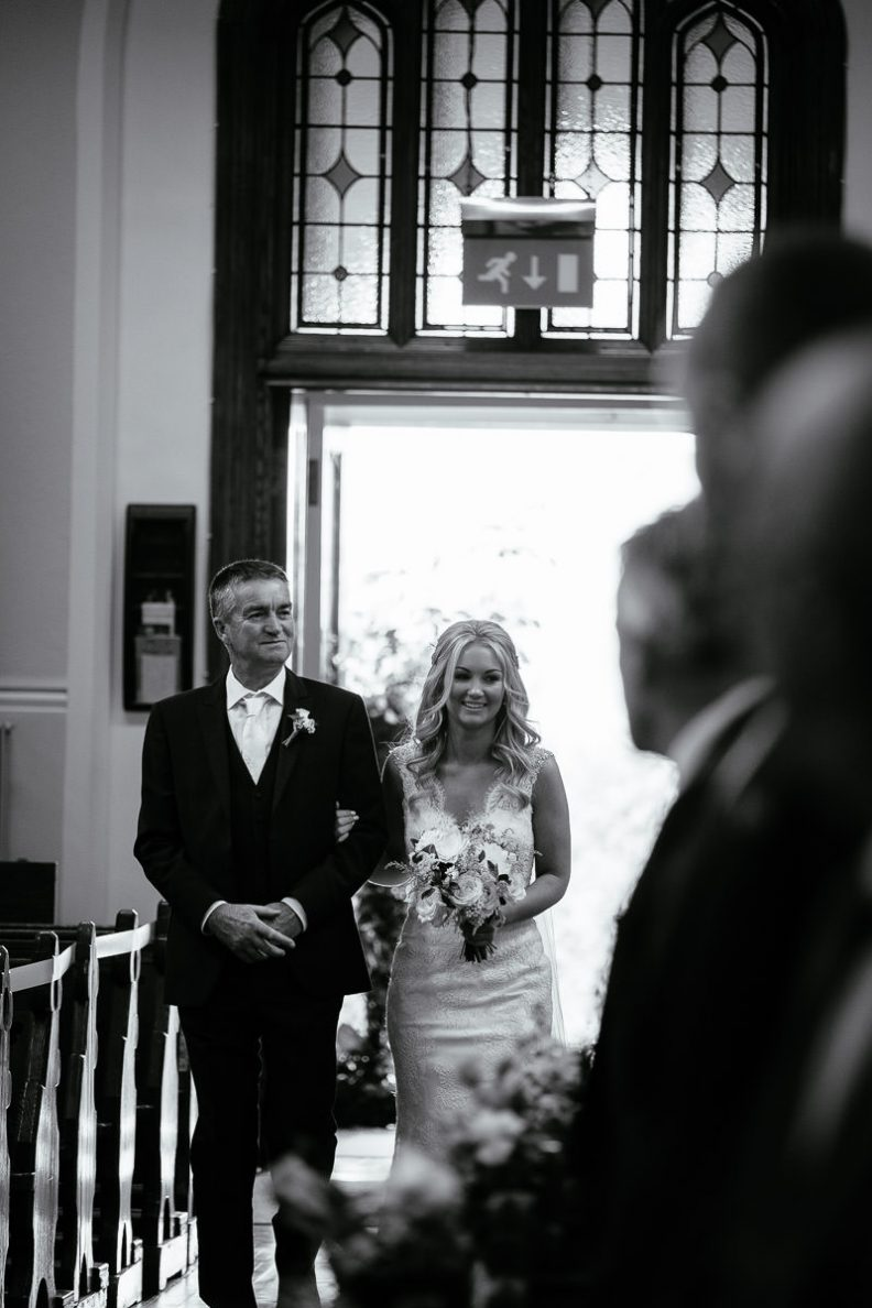 bride and her father at st patricks church wicklow