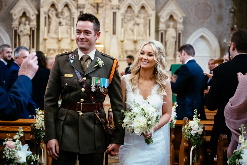 bride and groom during ceremony at st patricks church wicklow