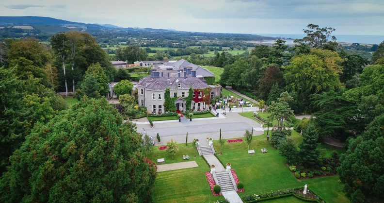aerial view at tinakilly country house wedding