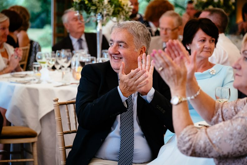 wedding guests clapping tinakilly country house wedding