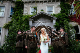 bride and groom outside tinakill country house wedding