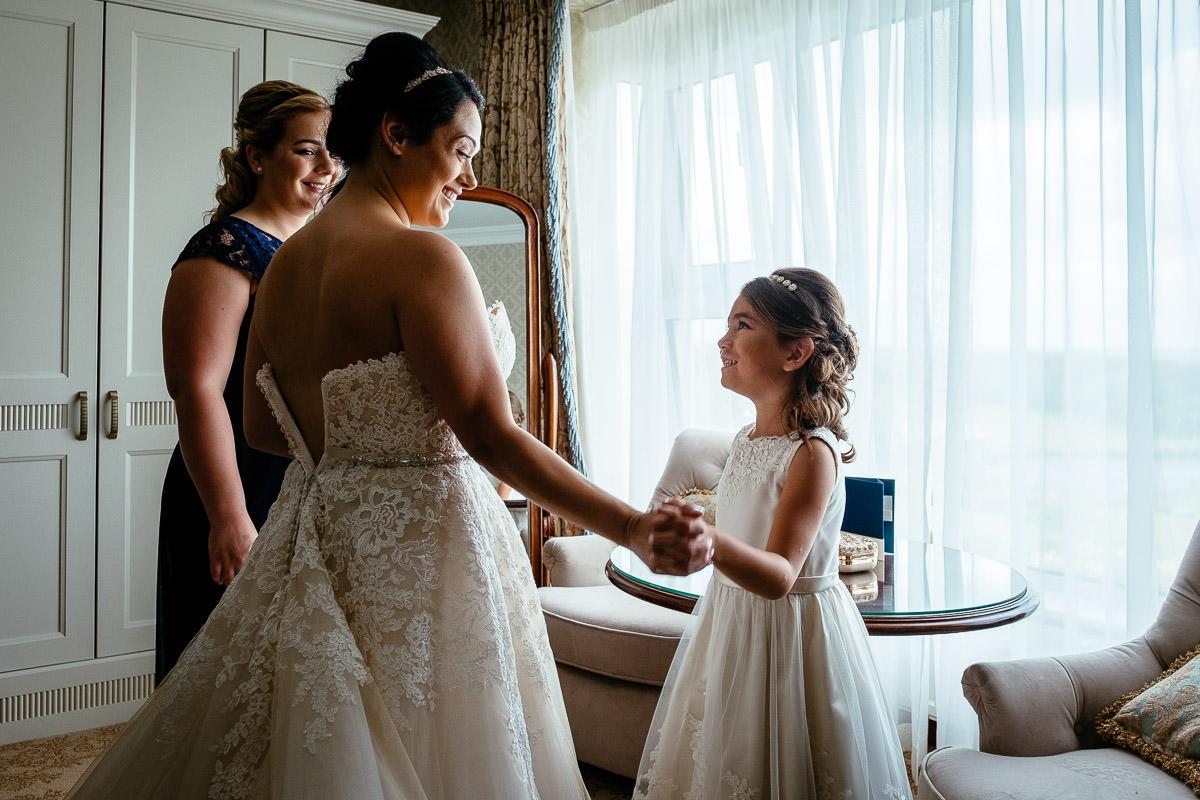 bride and her flower girl at glenlo abbey hotel wedding