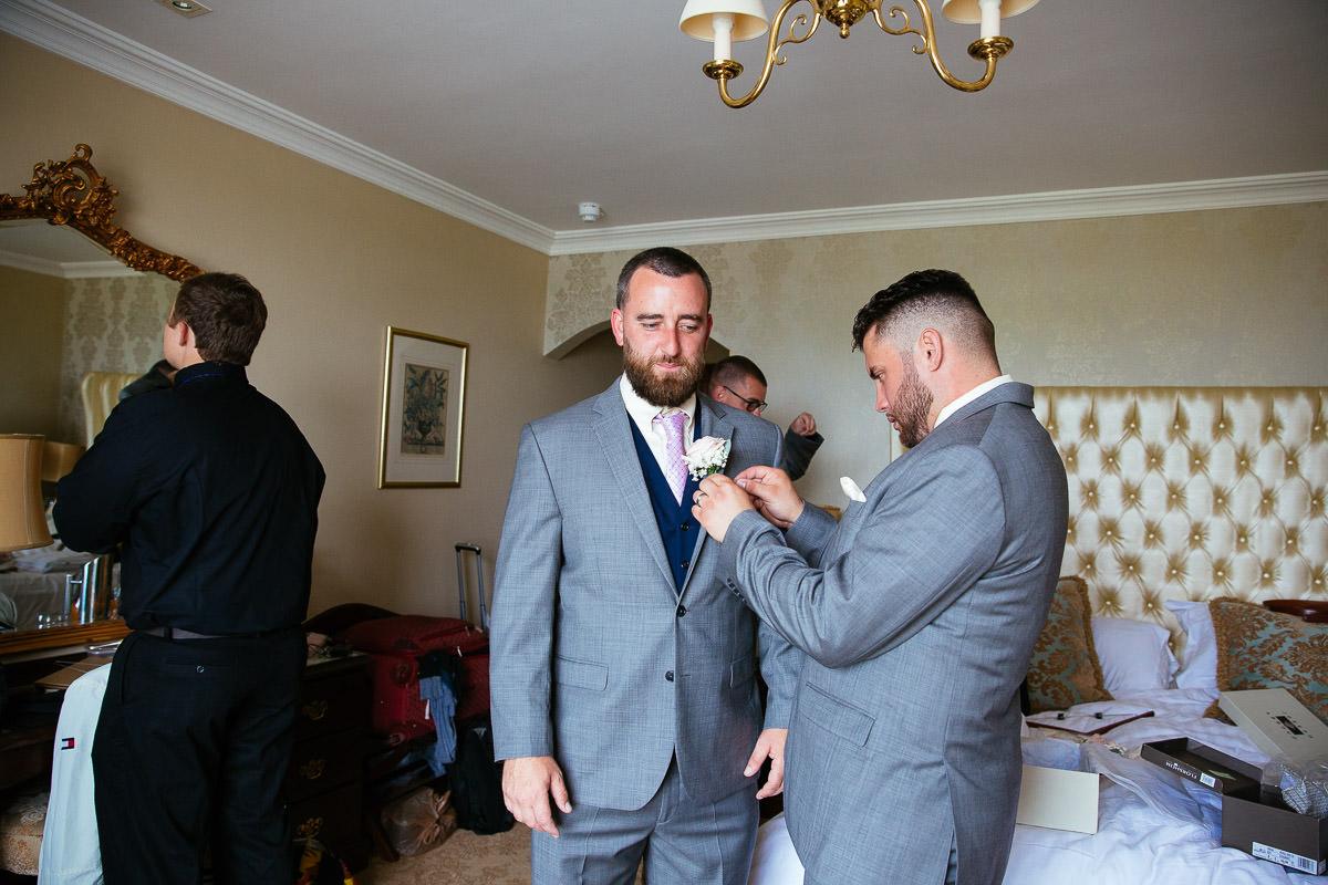 groom preparations at glenlo abbey hotel wedding