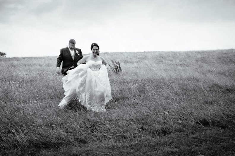 bride and groom walking at gleno abbey hotel wedding