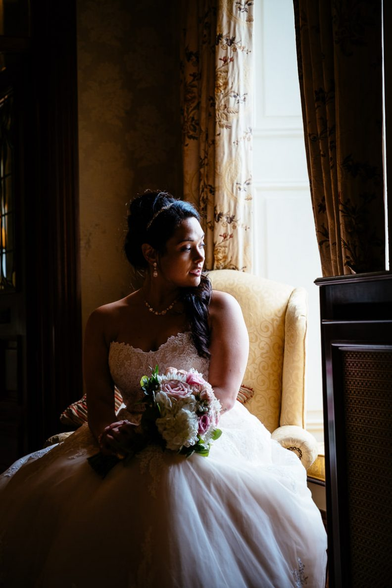 bride at gleno abbey hotel wedding
