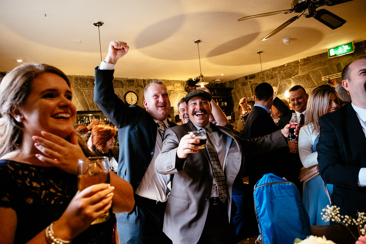 guests celebrating at glenlo abbey hotel wedding