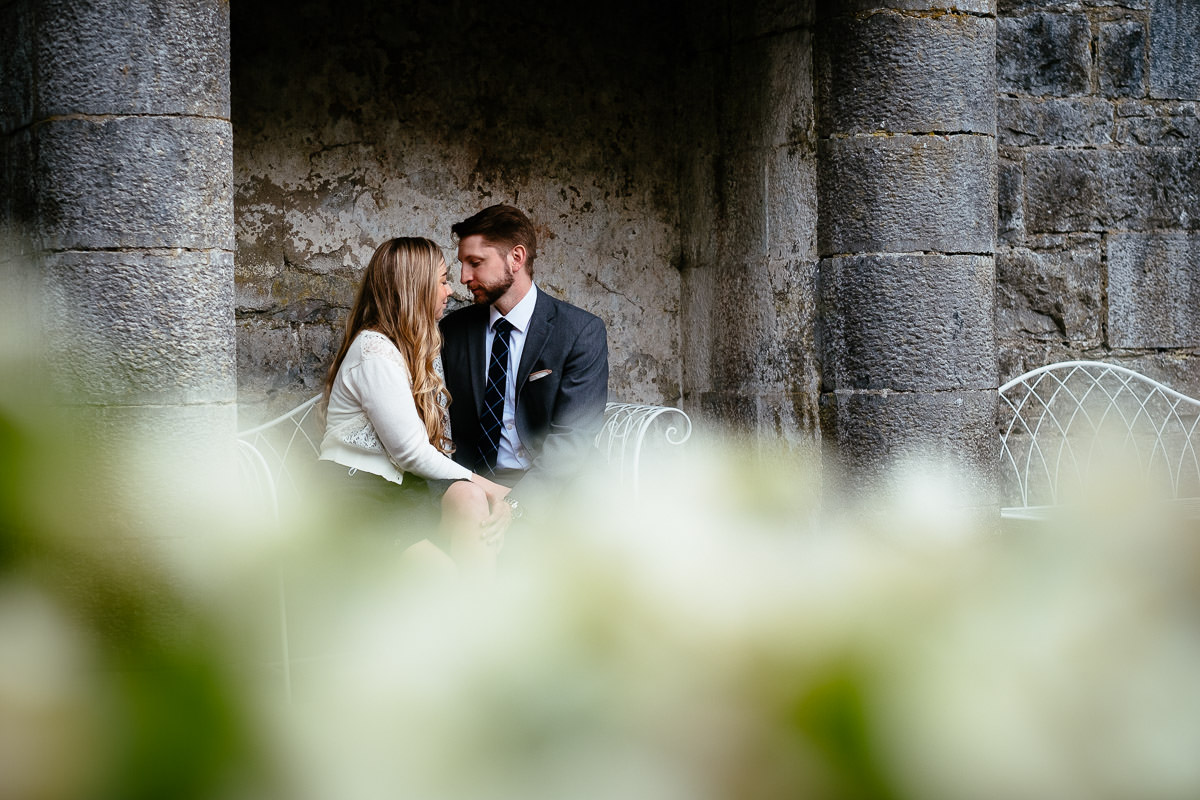 engaged couple in ashford castle
