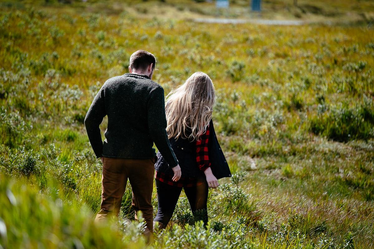 engaged couple in wild atlantic way ireland