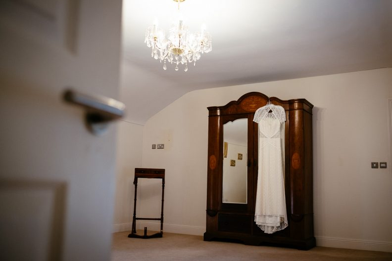 wedding dress hanging at balyna house at moyvalley hotel