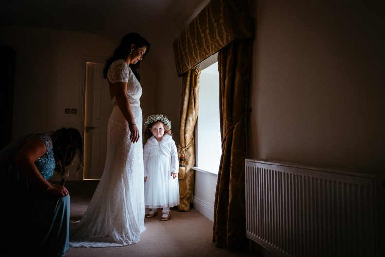 bride at window at moyvalley hotel