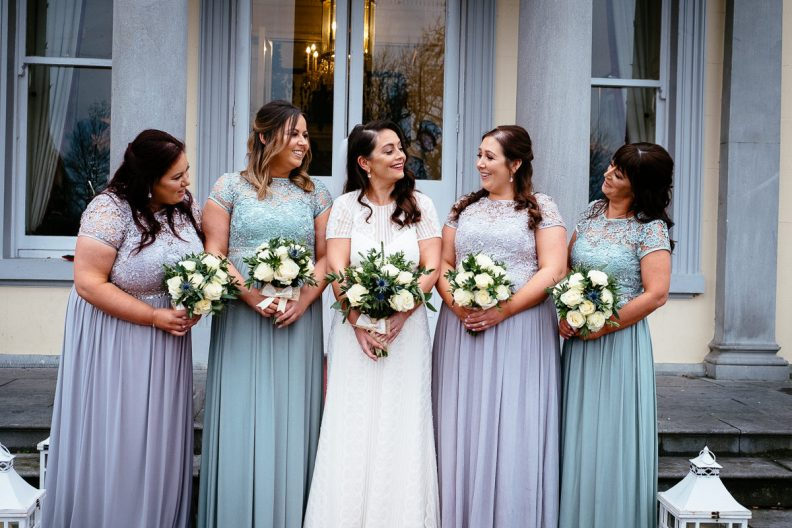 bridesmaids in front of balyna house moyvalley hotel
