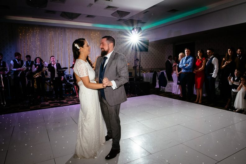 bride and groom dancing at their first dance