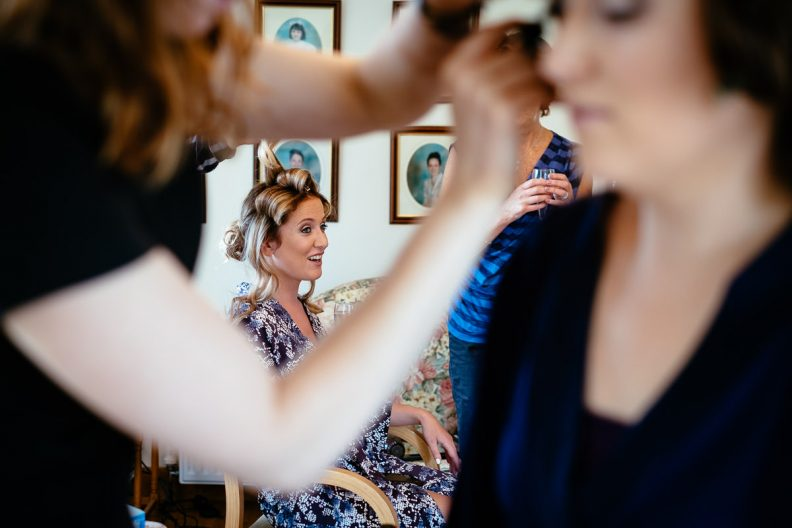 bridesmaid getting ready in cork