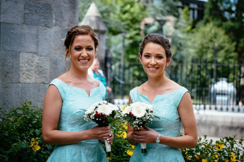 bridesmaids at honan chapel ucc wedding