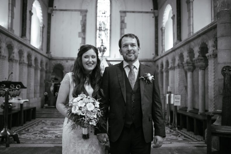 bride and groom at honan chapel ucc wedding