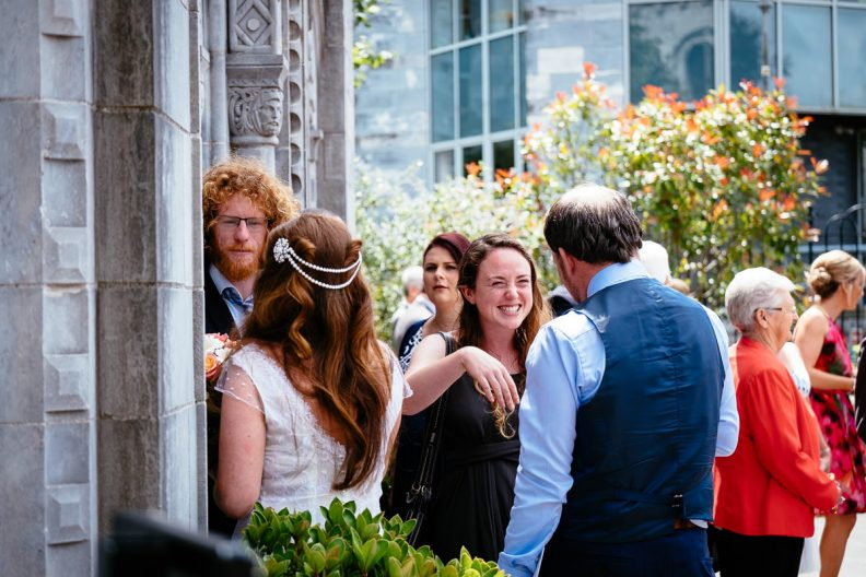 guests at honan chapel ucc wedding