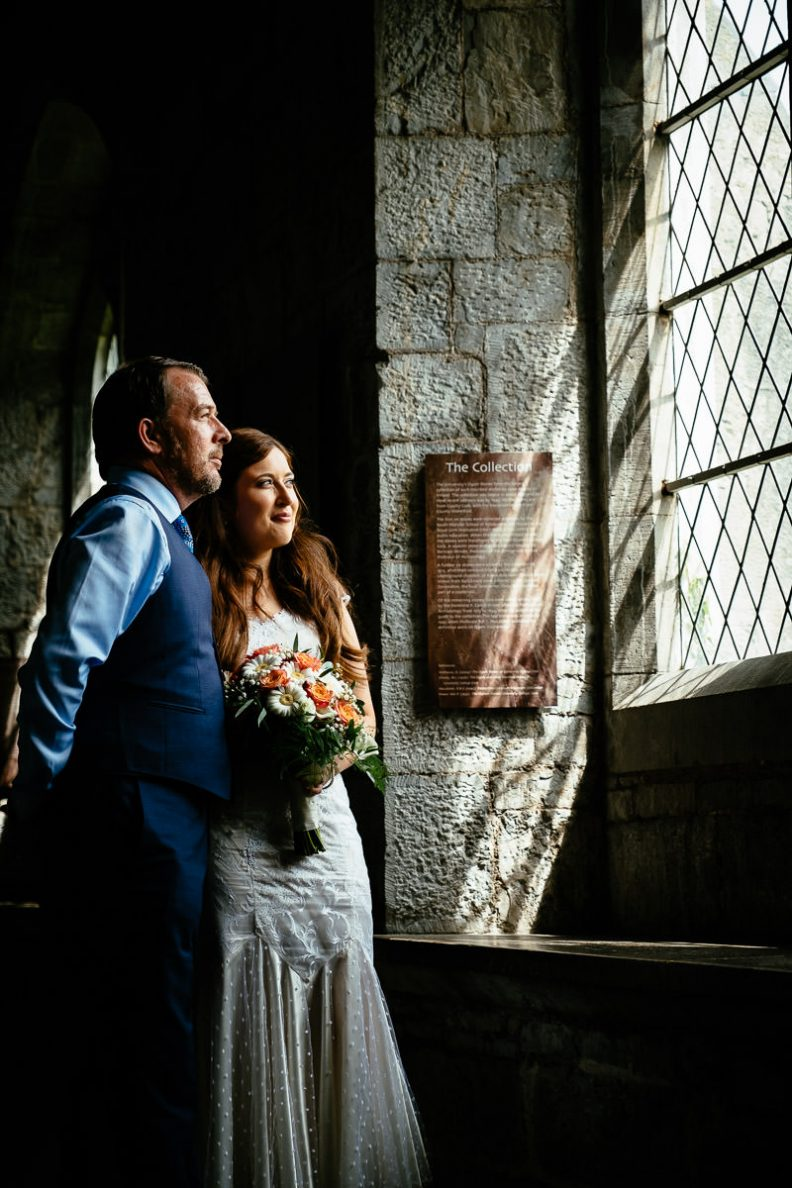 bride and groom at university college cork wedding