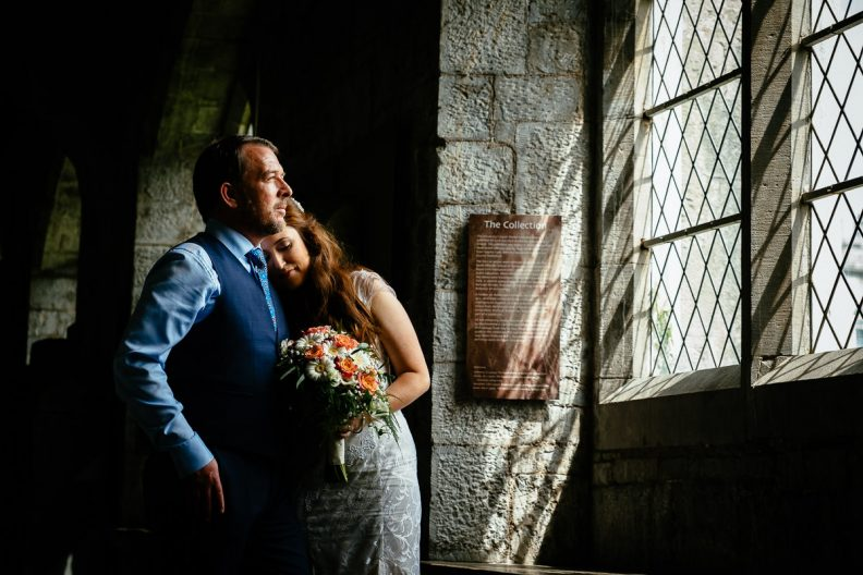 bride and groom hugging at university college cork wedding